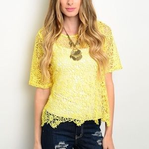 Tops - Yellow Lace Layering Top